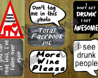 Party Photo Booth Props - 7 signs - Add some fun to your next event! Ing: More wine Please, INSTANT DOWNLOAD DIY Printable Craft, Party Fun