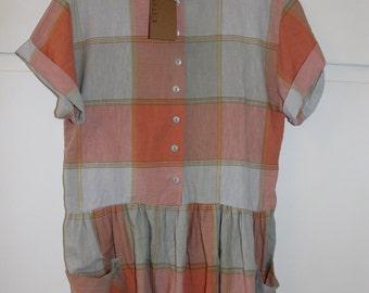 Vintage Retro 1980s Checked Drop Waist Dress