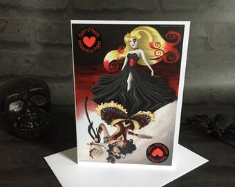 Greeting Card - Blank Inside Queen of Hearts Playing Card Alice in Wonderland Princess Dark Art Birthday Thank You Rose Gothic Goth