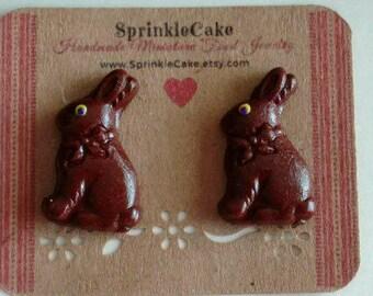 Chocolate Bunny Stud Earrings - Miniature Food Jewelry - Inedible Jewelry - Easter Bunny Earrings - Kid's Jewelry - Kawaii Jewelry - Dessert
