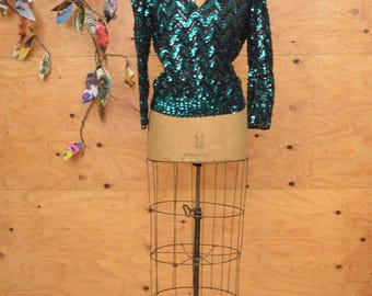Vintage 70's Disco Fabulous Sequin Top Teal Green Sweater, Long Sleeves SZ S/M