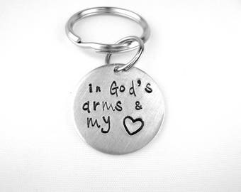 Grief Gift, Memorial Keychain, In God's Arms & My Heart, Condolence Gift for Loss of Loved One, Remembrance Keychain