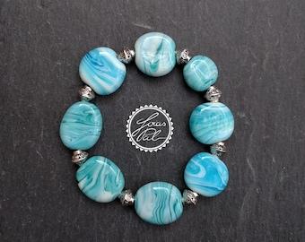 Elastic Lampwork glass beads bracelet/glass beads/Gypsy bracelet/Boho bracelet/Bohemian/Aztec bracelet/Indian/JOIAS Pal