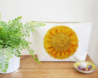 Sunflower Canvas Wash Bag, Large Zipper Pouch, Makeup Bag, Toiletry Bag, Accessory Bag, Sunflower Gift