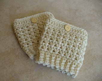 Women's Cream Boot Cuffs - Boot Toppers - Boot Socks - Leg Warmers - Crochet  with Wood Button