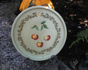 Vintage Round Tin Serving Tray with Cherries