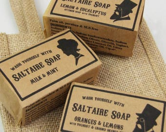 Set of Three Soaps (Your Choice) in a Hessian Gift Bag, by Saltaire Soap