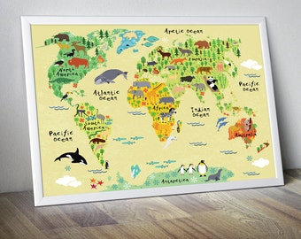 World map nursery etsy nursery world map nursery map map for kids world map for kids kids wall art kids gumiabroncs Image collections