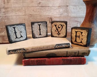Primitive Decorative Wooden Blocks - Vintage Style Rustic Home Decor - Live - Old Time Letters - Positivity - Motivational Whimsical Decor