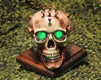 Steampunk light up Skull Green #137
