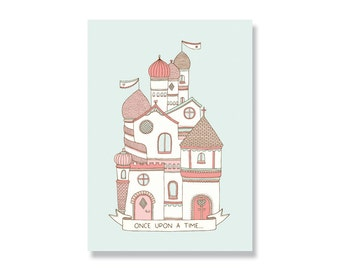 SALE Once Upon a Time Fairytale Palace A4 Illustration Print - 80% off