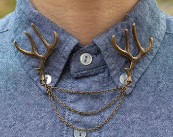 Bronze Deer Antler Collar Clip Collar Chain
