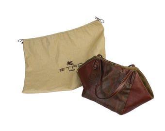 Etro handbag brown leather suede beige made italy paisley vintage