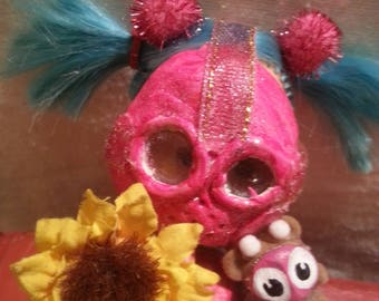 """2 of 4 """"Gas Mask Girls"""" doll series from SurrealeArt. Comes with FREE matching Bear mini. Comes in a jar. OOAK"""