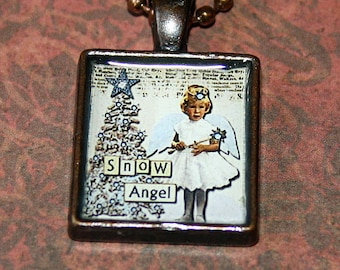 Snow Angel Resin Necklace - Christmas - Resin Pendant