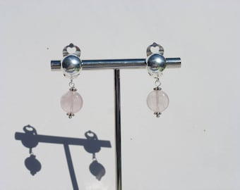EARRINGS CLIP silver rOSE QUARTZ gemstone 925 fine stone natural layering not expensive earrings pink Crystal healing stone