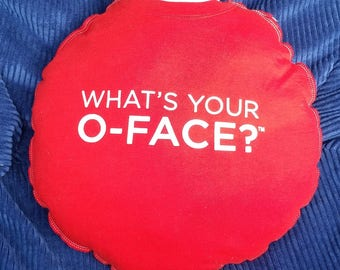 What's Your O-Face?-Upcycled Safe-Sex Pillow, w/ Condom & Lube Pockets, OOAK, red, white, vodka, office space