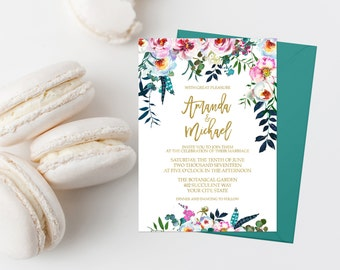 Bohemian Wedding Invitation Suite Printable Boho Wedding Invite Bohemian Floral Wedding Invitation Watercolor Flowers Teal Pink Gold 285