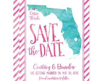 Florida Shape Save The Dates - Personalized DIY Printable File For Printing On Your Own - Watercolor State Shape Save The Date Announcements