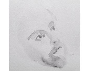Head - 5x5, graphite/wash on paper