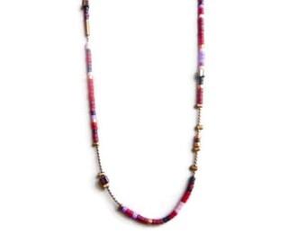 crew neck chain bronze very fine and Miyuki Japanese glass beads
