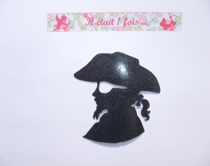 Applied fusible pirate patch black glittery fabric head iron-on fusible ground pirate pirate pirate applique patch