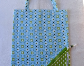 Tote Bag / eco-friendly tote bag / foldable bag pouch - blue and green