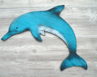 Rustic Dolphin, Nautical Wood Sign, Ocean, Coastal, Cottage Decor, Shabby Chic, Kids room
