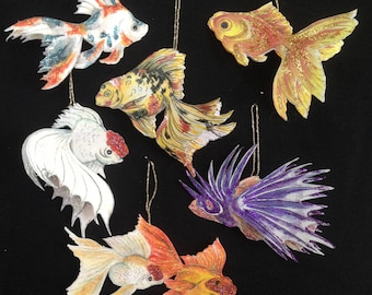 6 handmade paper fish Christmas ornaments that can flutter and swim on your tree.