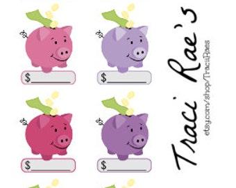 Piggy Bank Budget Planner Stickers (Reds, Pinks, Purples)