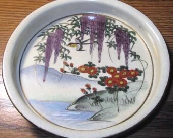 "Decorative Shallow Bowl-Porcelain-HAND PAINTED in JAPAN-Vintage 5 1/2"" x 1"""