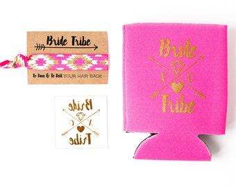 Hot Pink Bride Tribe Bachelorette Gift Set   Metallic Gold Tattoo, Hair Tie + Drink Cooler   Bachelorette Favors, Bachelorette Party Favor