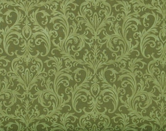 Green Tone on Tone Scroll 100% Cotton Quilt Fabric, Roses on the Vine Collection by Marti Michell, Yardage, MAS8436-G2