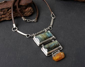 Labradorite necklace: Baltic amber necklace - Unique silver statement necklace - Amber pendant - Artisan Jewelry - Elven necklace