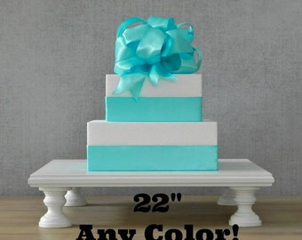 """22"""" Cake Stand Wedding Cake Stand Square White Cake Stand Grooms Cake E. Isabella Designs As Featured In Martha Stewart Weddings"""