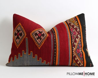 Kilim pillow cover, 90 years old kilim, vintage kilim pillow, bohemian eclectic home decor