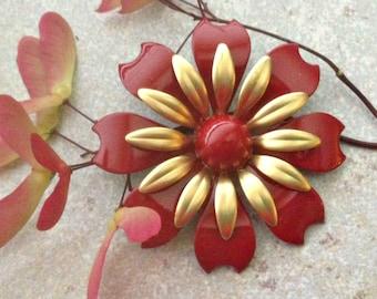 Gold and Red Flower Brooch Medium Red Enamel Flower Pin Red and Gold Wedding Red Metal Flower Flat Back  Pin Flatback Red Flower DIY FB30