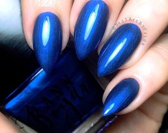 MIDNIGHT BLUE - Navy Nail Polish, Deep Blue Nail Polish, Nail Lacquer, Vegan Nail Polish, Shimmer Nail Polish, Gift Ideas For Mom, AnnBoyar