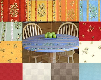 """18 -30"""" Elasticized Fitted  Round Coated Oilcloth Tablecloth  -Choose the Size & Fabric - Umbrella Hole Available -"""