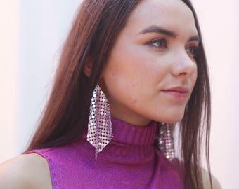 Metallic Hand Made Recycled Dangle Disco Earrings