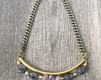 Amethyst statement necklace, birthstone jewelry, tube necklace, modern brass necklace, brass necklace