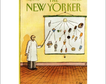 """Vintage The New Yorker Magazine Cover Poster Print Art, Chast, 1986 Matted to 11"""" x 14"""", Item 001, Ice Cream"""