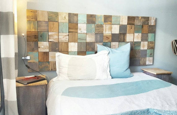Patchwork quilt wall panels; headboard, sofa art, hallway art handcrafted from recycled reclaimed wood scraps turquoise, grey, white,natural