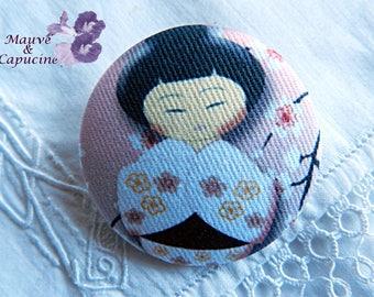 Fabric button, printed kokeshi, 1.57 in / 40 mm