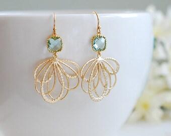 Aqua Blue Earrings in Gold Seafoam Green Dangle Earrings Aqua Wedding Jewelry Bridesmaid Gift March Birthstone mothers day gift for Her