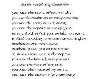 Irish Wedding Blessing - original calligraphy art - 8x10 inches - mat upon request