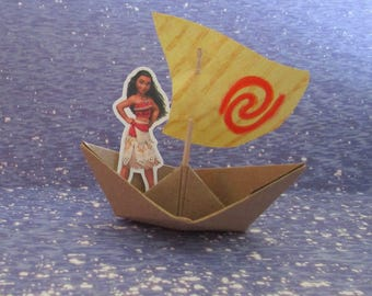 Moana Party Birthday Boat Water Sign Spiral Paper Boat Sailboat Moana Die Cut Cupcake Cake Topper