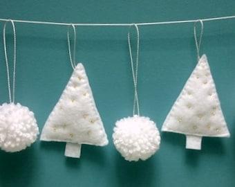 Home Decor, Christmas Tree Decorations set, Christmas Felt Garland, Felt Christmas Tree, Gift, Winter Ornament, Handmade Pompom Miniature