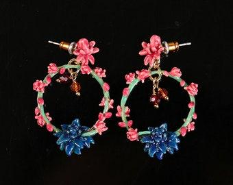 Enamel Cactus Flower Green Pink Blue Dangle Earrings -- Mysterious Mirage!!