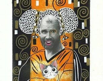 Original illustration, painting and collage, Klimt